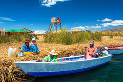 Uros Islands Families Stock Image