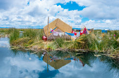 Uros Islands at Lake Titicaca Stock Photo