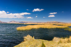 Uros Islands of Totora reed, floating on Titicaca Lake, Peru Stock Image