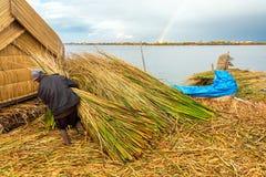 Uros Islands Worker Stock Photos