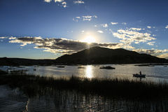 Uros Khantati Islands, Titicaca-See, Altiplano, Peru Lizenzfreie Stockfotos