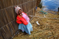 Uros native girl, Peru Stock Photos