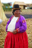 Uros native woman, Peru Stock Photography