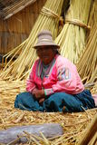 Uros native woman, Peru Stock Photo