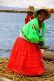 Uros native woman, Peru Stock Image