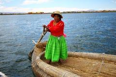 Uros native woman, Peru Stock Image