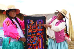 Uros native woman, Peru Stock Images