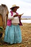 Uros native woman, Peru Royalty Free Stock Photo