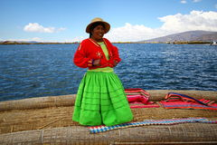Uros native woman, Peru Royalty Free Stock Image