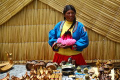 Uros native woman, Peru Stock Photo