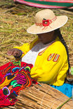 Uros People, Floating Island, Peru Royalty Free Stock Images