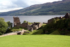 Urquhart Castle. Ruins overlooking Loch Ness near Inverness Scotland Stock Images