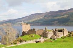 Urquhart castle. Landscape Ruins of Urquhart Castle at Loch Ness Inverness Highlands, Scotland UK Stock Images