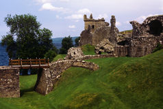 Historic Scottish castle ruins on the banks of Loch Ness Royalty Free Stock Photos