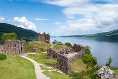 Urquhart Castle on  Lake Loch Ness, Scotland. Ruins of Urquhart Castle on  Lake Loch Ness, Scotland Royalty Free Stock Images