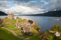 Urquhart Castle and Loch Ness. Ruined remains of Urquhart Castle with Loch Ness in the background