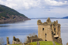 Urquhart Castle on Loch Ness in Scotland. The home of the clan Grant, and the place of the most sightings of Nessy the famous Loch Ness monster Stock Images