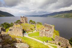 Urquhart castle lockness scotland england in summer in a day wit Royalty Free Stock Image