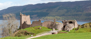 Urquhart Castle Ruin Panorama. Panorama Ruins of Urquhart Castle near Loch Ness Inverness Highlands Scotland UK Royalty Free Stock Photos
