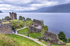 Urquhart Castle ruins and Loch Ness, United Kingdom royalty free stock photo