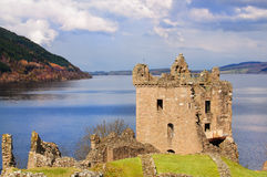 Urquhart Castle in Scotland. Urquhart Castle on Loch Ness in Scotland the home of the clan Grant, and the place of the most sightings of Nessy the famous Loch Royalty Free Stock Image