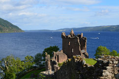 Urquhart Castle Stone Ruins and Loch Ness in Scottish Highlands Stock Images