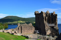 Urquhart Castle Tower Ruins on Loch Ness in Scotland. Stone ruins of Urquhart Castle`s tower in Scotland Royalty Free Stock Photo