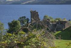 Urquhart slott, Loch Ness, Skottland - solig dag i sommar royaltyfri fotografi