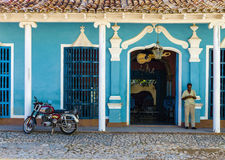 Urquoise blue and white facade of old colonial building in Trinidad, Cuba Royalty Free Stock Photos