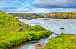 Urridafoss, ο μεγαλύτερος από τον καταρράκτη ποσοστού ροής στην Ισλανδία Στοκ φωτογραφία με δικαίωμα ελεύθερης χρήσης