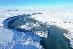 Urridafoss is in Tjorsa river in South Iceland.