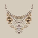 Urringningdesign i etnisk stil för mode Aztec halstryck royaltyfri illustrationer