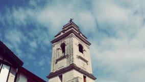 Urrugne村庄的南法国Sain文森特教会在欧洲 库存图片