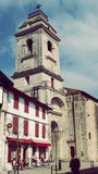 Urrugne Sain Vincent Church Facade Village South France in Europe. Architecture at Urrugne Village Basque Country France Europe Holidays Landmark Royalty Free Stock Photos