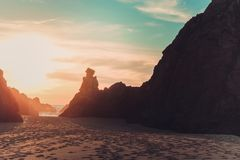 Sunset on the Ursa beach royalty free stock images