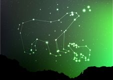 Ursa Minor and Major on nigt sky with forest landscape. Bear in shiny constellation and star poligon in northern. Hemisphere with Northern Lights. Starry minor Stock Image