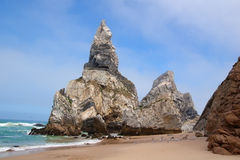 Ursa rock. In Ursa beach near Cabo da Roca. Sintra, Portugal stock photo
