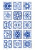 Ursnygg azulejotegelplattauppsättning, klassisk portugisisk tappningdesign, rik dekorativ dekor royaltyfri illustrationer