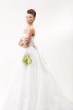Ursnygg brud i lång vit lyxig klänning royaltyfri bild