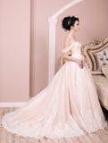 Ursnygg brud med mörkt hår i luxuious bröllopsklänning arkivfoton