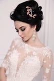 Ursnygg brud med mörkt hår i luxuious bröllopsklänning royaltyfria foton