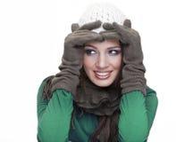 Ursnygg flicka som ler på vit bakgrund Fotografering för Bildbyråer