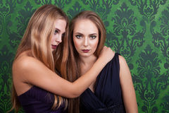 Ursnygg flicka två i nattdresess royaltyfri bild