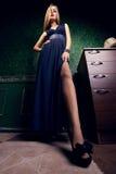 Ursnygg kvinna med överdrivna långa ben fotografering för bildbyråer