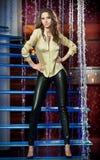 Ursnygg modell som poserar i modern en dekorerad nattklubbsilver royaltyfri foto