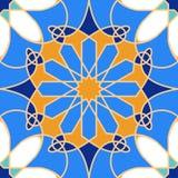 Ursnygg sömlös modell från blåa marockanska tegelplattor, prydnader Royaltyfria Foton