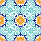 Ursnygg sömlös modell från blåa marockanska tegelplattor, prydnader vektor illustrationer