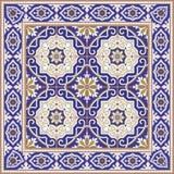 Ursnygg sömlös modell från tegelplattor och gränsen Marockanskt portugisiskt, Azulejo prydnader Royaltyfria Bilder