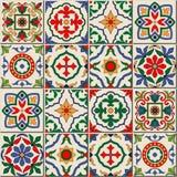 Ursnygg sömlös modell Marockanskt portugistegelplattor, Azulejo, prydnader royaltyfri illustrationer