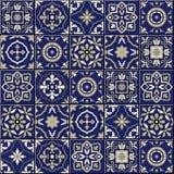 Ursnygg sömlös modell Marockanskt portugistegelplattor, Azulejo, prydnader vektor illustrationer
